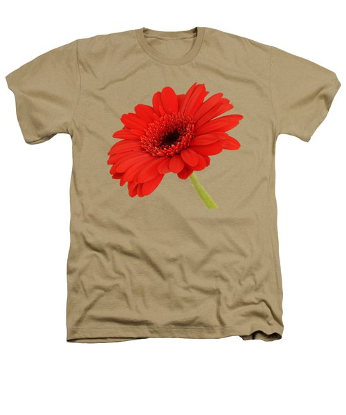 Red Gerbera Daisy 2 Heathers T-Shirt by Scott Carruthers