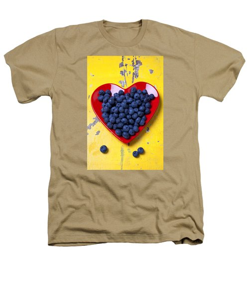 Red Heart Plate With Blueberries Heathers T-Shirt by Garry Gay