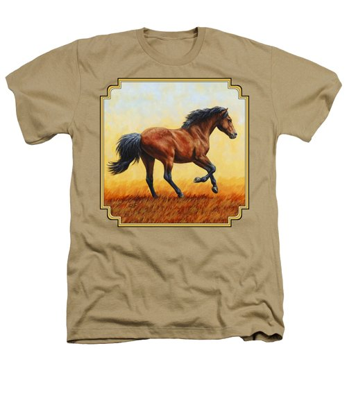 Running Horse - Evening Fire Heathers T-Shirt by Crista Forest