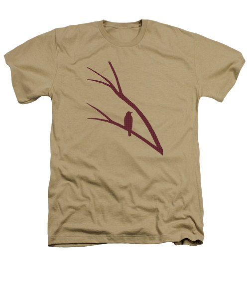 Rustic Bird Art Dark Red Bird Silhouette Heathers T-Shirt by Christina Rollo