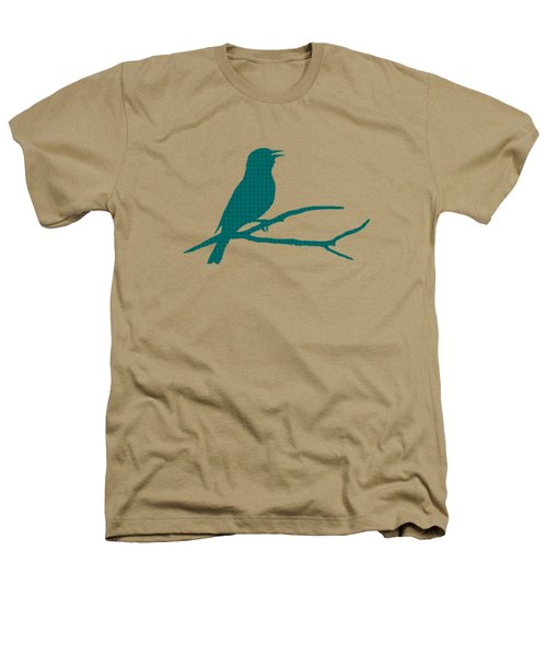 Rustic Green Bird Silhouette Heathers T-Shirt by Christina Rollo