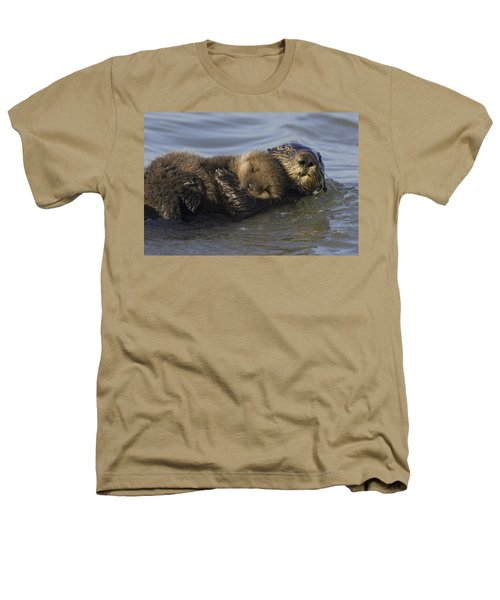 Sea Otter Mother With Pup Monterey Bay Heathers T-Shirt by Suzi Eszterhas