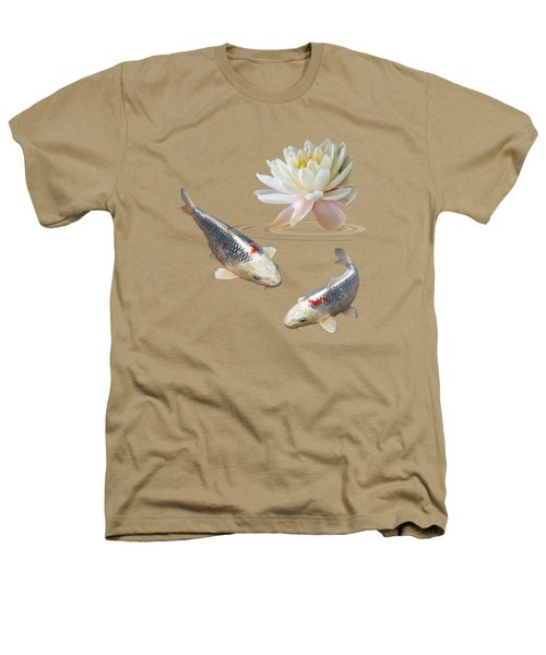 Silver And Red Koi With Water Lily Heathers T-Shirt by Gill Billington