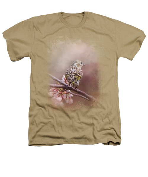 Siskin In The Garden Heathers T-Shirt by Jai Johnson