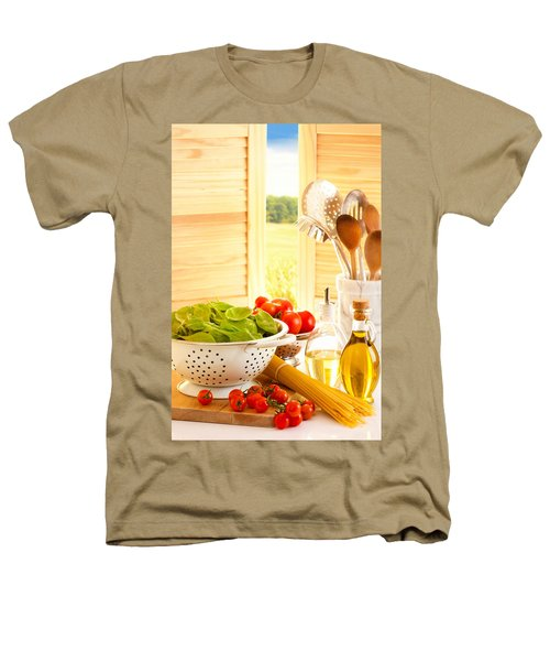 Spaghetti And Tomatoes In Country Kitchen Heathers T-Shirt by Amanda Elwell