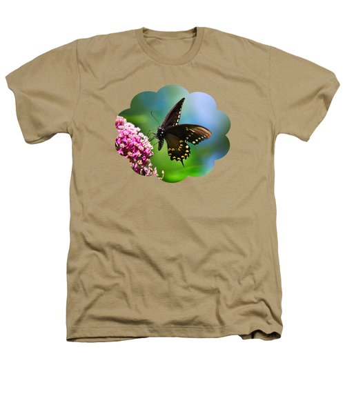 Spicebush Swallowtail Butterfly On Pink Flower Heathers T-Shirt by Christina Rollo