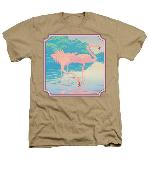 Square Format - Pink Flamingos Retro Pop Art Nouveau Tropical Bird 80s 1980s Florida Painting Print Heathers T-Shirt by Walt Curlee