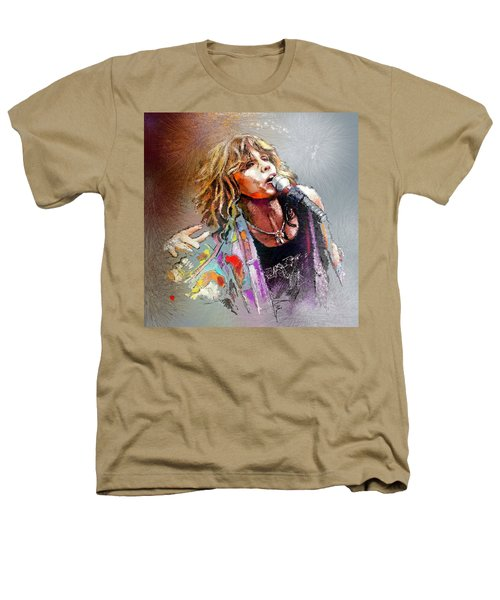 Steven Tyler 02  Aerosmith Heathers T-Shirt by Miki De Goodaboom