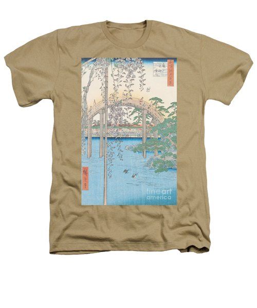 The Bridge With Wisteria Heathers T-Shirt by Hiroshige