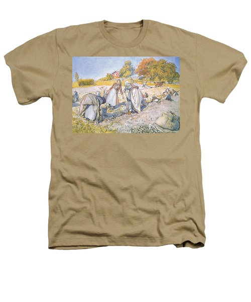 The Children Filled The Buckets And Baskets With Potatoes Heathers T-Shirt by Carl Larsson