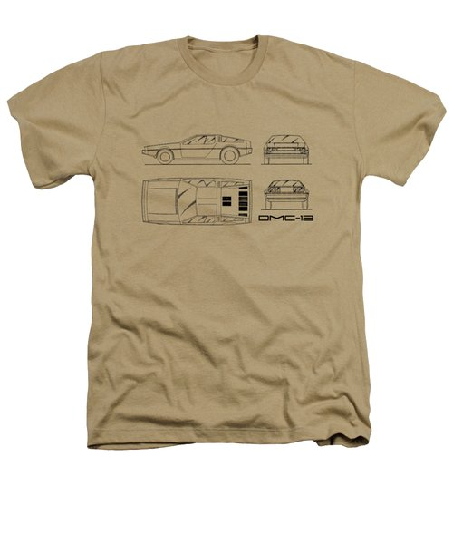 The Delorean Dmc-12 Blueprint - White Heathers T-Shirt by Mark Rogan
