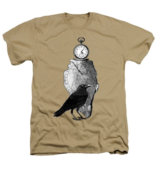 The Raven, The Pocket Watch, And The Runestone Heathers T-Shirt by Sandra McGinley