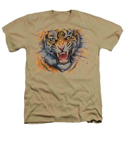 Tiger Watercolor Portrait Heathers T-Shirt by Olga Shvartsur