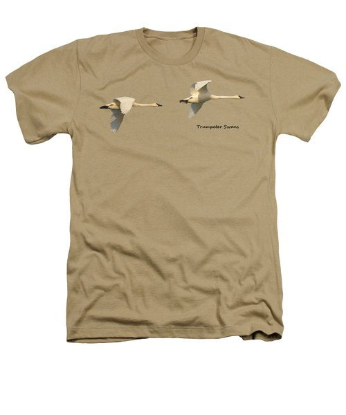 Trumpeter Swans In Flight Heathers T-Shirt by Whispering Peaks Photography