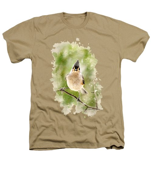 Tufted Titmouse - Watercolor Art Heathers T-Shirt by Christina Rollo