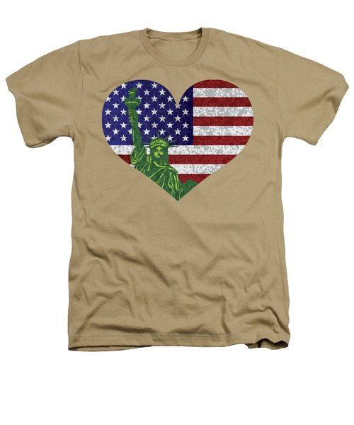 Usa Heart Flag And Statue Of Liberty Heathers T-Shirt by Jit Lim