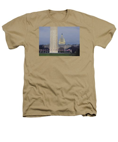 Washington Monument And United States Capitol Buildings - Washington Dc Heathers T-Shirt by Brendan Reals