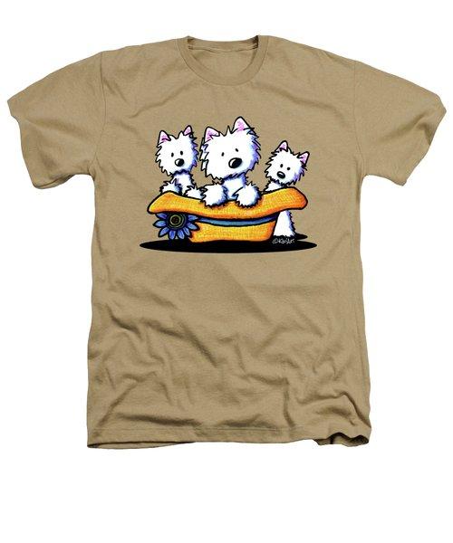 Westie Hat Trio Heathers T-Shirt by Kim Niles