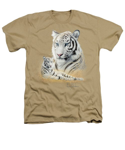 White Tiger Heathers T-Shirt by Lucie Bilodeau