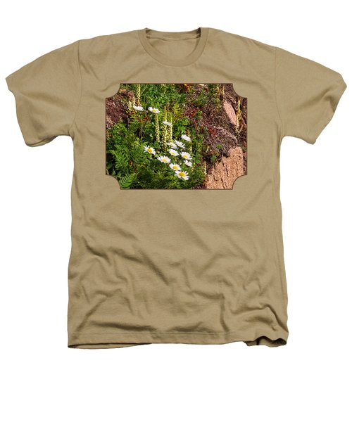 Wild Daisies In The Rocks Heathers T-Shirt by Gill Billington