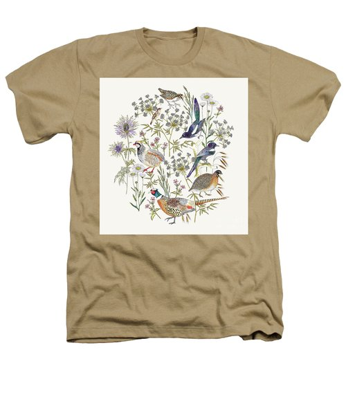 Woodland Edge Birds Placement Heathers T-Shirt by Jacqueline Colley