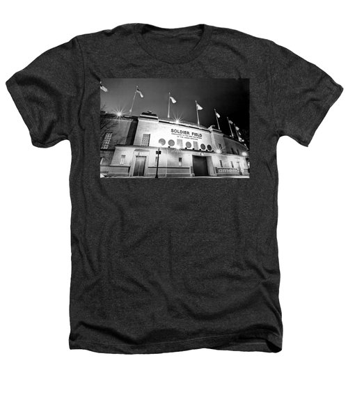 0879 Soldier Field Black And White Heathers T-Shirt by Steve Sturgill