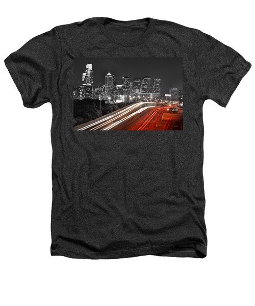 Philadelphia Skyline At Night Black And White Bw  Heathers T-Shirt by Jon Holiday
