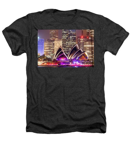 Sydney Skyline At Night With Opera House - Australia Heathers T-Shirt by Matteo Colombo