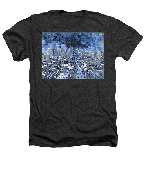 Austin Texas Abstract Panorama 5 Heathers T-Shirt by Bekim Art