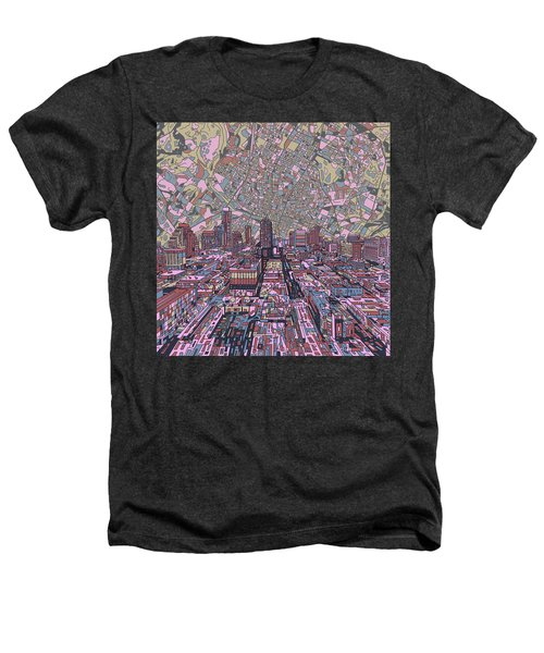 Austin Texas Vintage Panorama 2 Heathers T-Shirt by Bekim Art