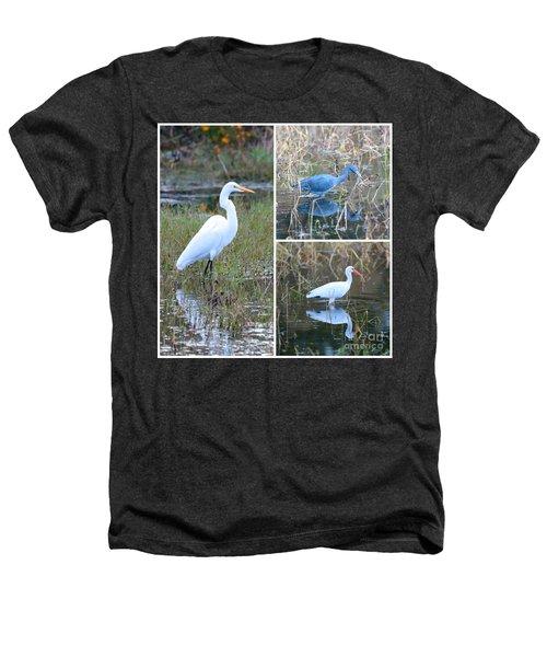 Birds On Pond Collage Heathers T-Shirt by Carol Groenen