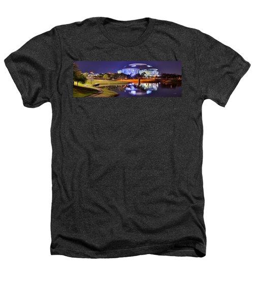 Dallas Cowboys Stadium At Night Att Arlington Texas Panoramic Photo Heathers T-Shirt by Jon Holiday