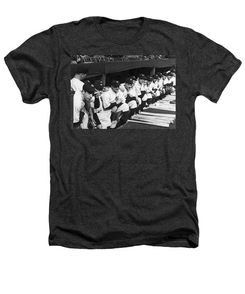 Dimaggio In Yankee Dugout Heathers T-Shirt by Underwood Archives