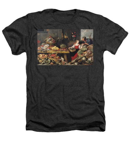 Fruit And Vegetable Market Oil On Canvas Heathers T-Shirt by Frans Snyders