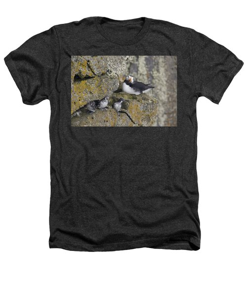 Least Auklets Perched On A Narrow Ledge Heathers T-Shirt by Milo Burcham