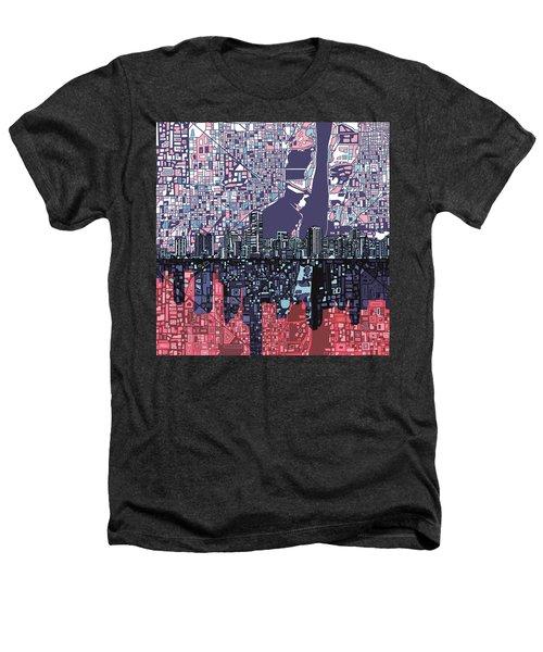 Miami Skyline Abstract Heathers T-Shirt by Bekim Art