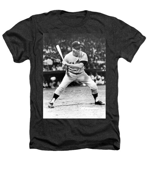 Mickey Mantle At Bat Heathers T-Shirt by Underwood Archives