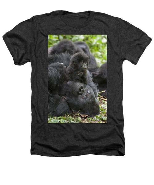 Mountain Gorilla Baby Playing Heathers T-Shirt by Suzi  Eszterhas