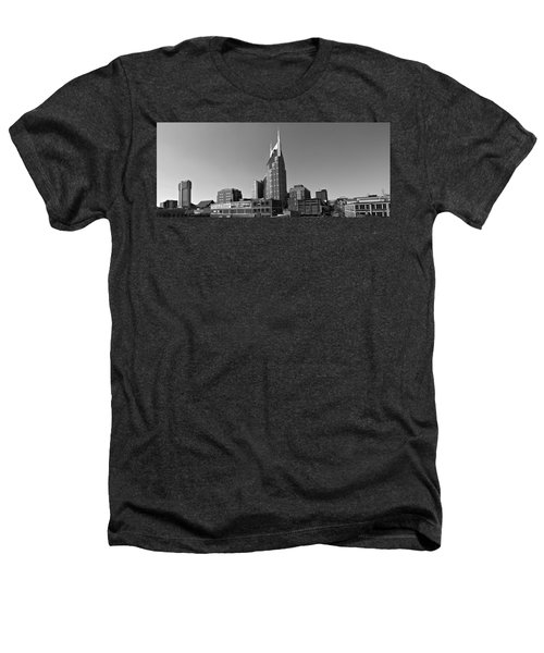 Nashville Tennessee Skyline Black And White Heathers T-Shirt by Dan Sproul