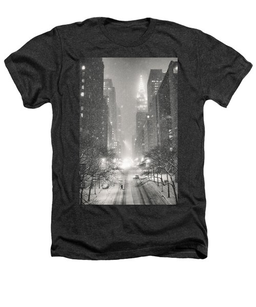 New York City - Winter Night Overlooking The Chrysler Building Heathers T-Shirt by Vivienne Gucwa