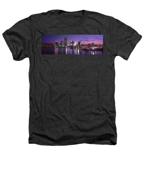 Night Skyline Miami Fl Usa Heathers T-Shirt by Panoramic Images
