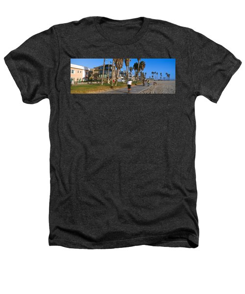 People Riding Bicycles Near A Beach Heathers T-Shirt by Panoramic Images