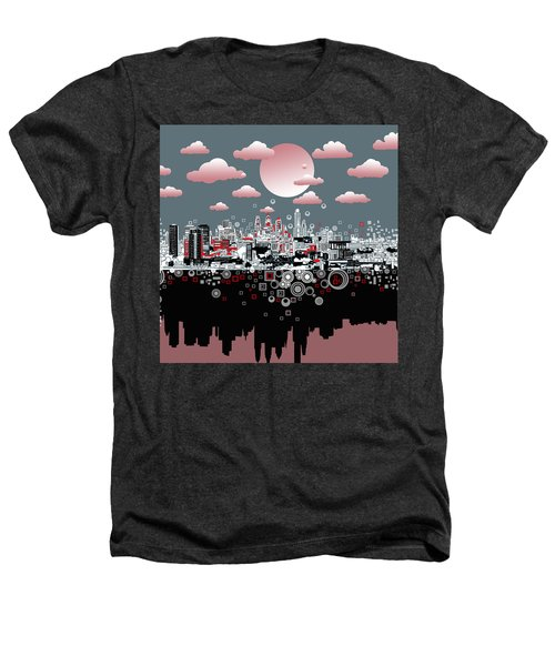 Philadelphia Skyline Abstract 6 Heathers T-Shirt by Bekim Art