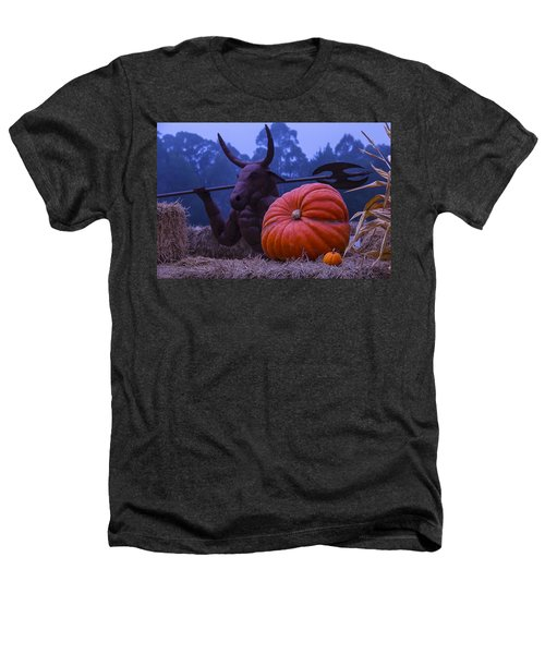 Pumpkin And Minotaur Heathers T-Shirt by Garry Gay