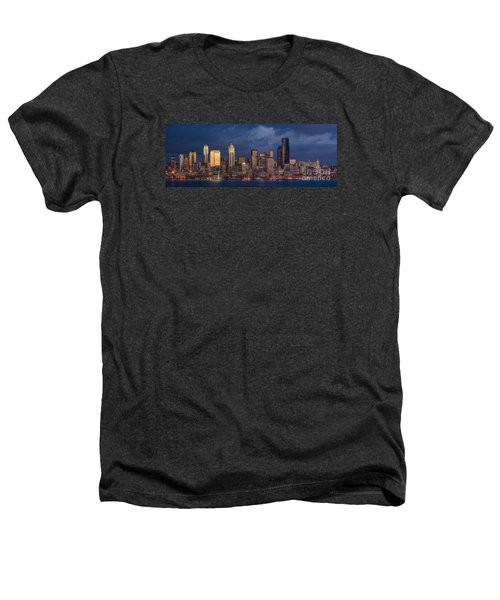Seattle Skyline Sunset Detail Heathers T-Shirt by Mike Reid