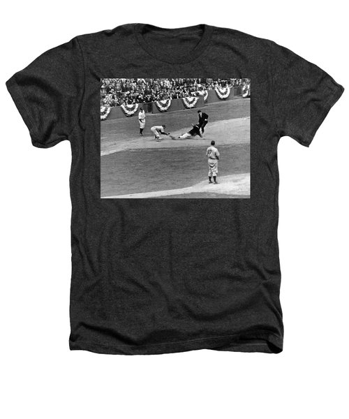 Spud Chandler Is Out At Third In The Second Game Of The 1941 Wor Heathers T-Shirt by Underwood Archives