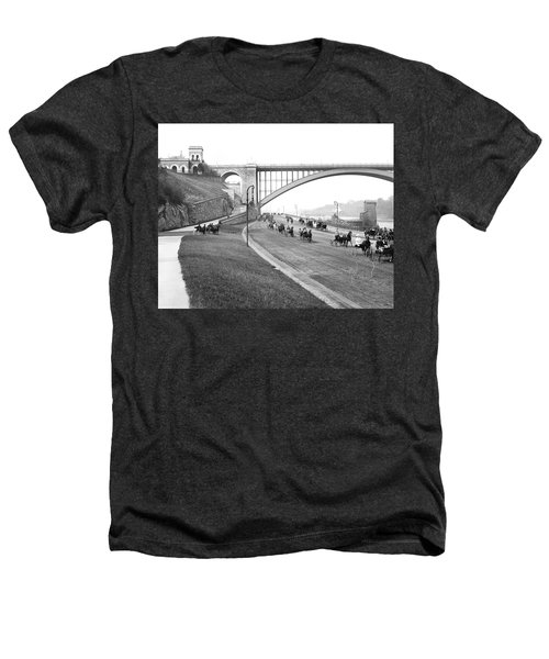 The Harlem River Speedway Heathers T-Shirt by Detroit Publishing Company