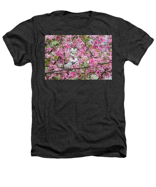 Tufted Titmouse In A Pear Tree Heathers T-Shirt by Bill Wakeley