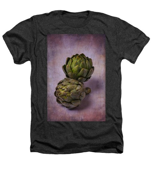 Two Artichokes Heathers T-Shirt by Garry Gay