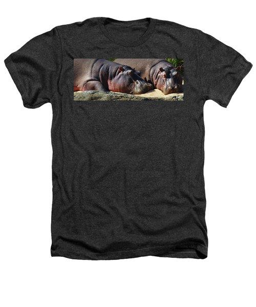 Two Hippos Sleeping On Riverbank Heathers T-Shirt by Johan Swanepoel